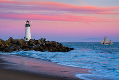 Santa Cruz Breakwater Lighthouse Lizenzfreies Stockfoto