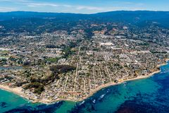 Santa Cruz California Aerial View. The aerial view of the city of Santa Cruz in Northern California on a sunny day stock photos