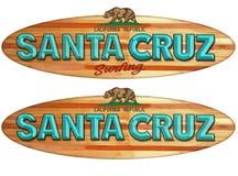 Santa Cruz surfboard sign. Santa Cruz California Surfboard Surfing wood sign vintage style beach boardwalk vector illustration