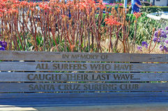 Santa Cruz, California, United States of America, Usa. Wooden bench dedicated to the surfers on June 15, 2010. The bench, built by Santa Cruz Surfing Club, has royalty free stock photography