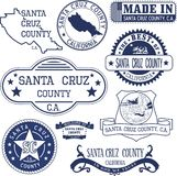 Santa Cruz county, CA. Set of stamps and signs Royalty Free Stock Photography