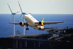 Santa Cruz de La Palma, Canary Islands, Spain; December 2nd 2018: Condor airplane taking off La Palma Airport stock photo