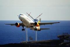 Santa Cruz de La Palma, Canary Islands, Spain; December 2nd 2018: Condor airplane taking off La Palma Airport stock photos