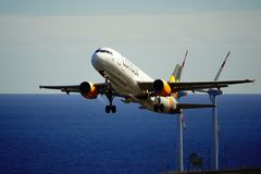 Santa Cruz de La Palma, Canary Islands, Spain; December 2nd 2018: Condor airplane taking off La Palma Airport stock image