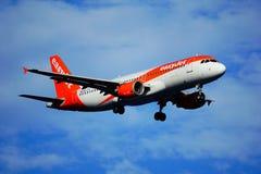 Santa Cruz de La Palma, Canary Islands, Spain; December 4th 2018: Easy Jet airplane arriving at La Palma Airport stock image