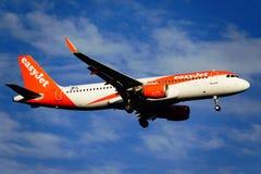 Santa Cruz de La Palma, Canary Islands, Spain; December 4th 2018: Easy Jet airplane arriving at La Palma Airport royalty free stock images