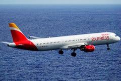 Santa Cruz de La Palma, Canary Islands, Spain; January 12th 2019: Iberia Express airplane arriving at La Palma Airport stock image