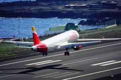 Santa Cruz de La Palma, Canary Islands, Spain; January 12th 2019: Iberia Express airplane landing at La Palma Airport stock photo