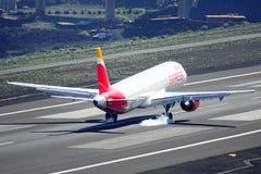 Santa Cruz de La Palma, Canary Islands, Spain; January 12th 2019: Iberia Express airplane landing at La Palma Airport stock photos