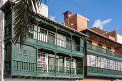 Santa Cruz de la Palma Colonial House Balconies Royaltyfri Foto