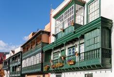 Santa Cruz de la Palma Colonial House Balconies Arkivfoton