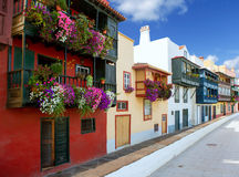 Santa Cruz de La Palma colonial house facades Royalty Free Stock Image