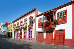 Santa Cruz de La Palma colonial house facades Royalty Free Stock Images