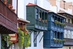 Santa Cruz de la Palma, Spain. Wooden balconies royalty free stock photos