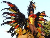 Santa Cruz de Tenerife Carnival. SANTA CRUZ, TENERIFE, SPAIN - FEBRUARY 16.  Santa Cruz de Tenerife Carnival  2010: Woman dancing in parade Stock Image