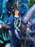 Santa Cruz de Tenerife Carnival: The big Parade. SANTA CRUZ, TENERIFE, SPAIN - FEBRUARY 16.  Santa Cruz de Tenerife Carnival  2010: Woman in costume Royalty Free Stock Images