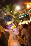 Santa Cruz de Tenerife Carnival: Party. SANTA CRUZ, TENERIFE, SPAIN - FEBRUARY 16.  Santa Cruz de Tenerife Carnival  2010:  Woman at the party. at night Royalty Free Stock Photography
