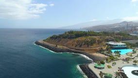 SANTA CRUZ DE TENERIFE, SPAIN - MAY, 18, 2018 Aerial view of `Auditorio de Tenerife` from above. SANTA CRUZ DE TENERIFE, SPAIN - MAY, 18, 2018 Aerial view of ` stock video footage