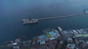 Santa Cruz De Tenerife, Spanje - Mei, 18, het Satellietbeeld van 2018 van een haven stock video