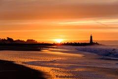 Santa Cruz falochronu światła Walton latarnia morska przy wschodem słońca obraz royalty free