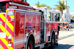 Santa Cruz Fire Department. SCFD parked on Beach St, in front of the board walk royalty free stock photo