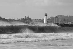 Stormy Santa Cruz Harbor lighthouse Stock Photography