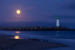 Santa Cruz harbor lighthouse by night Stock Photo