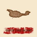Santa Cruz Island distressed map. Stock Photo