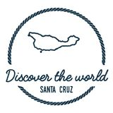 Santa Cruz Island Map Outline. Vintage Discover the World Rubber Stamp with Island Map. Hipster Style Nautical Insignia, with Round Rope Border. Travel Vector Royalty Free Stock Photos