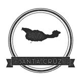 Santa Cruz Island map stamp. Retro distressed insignia. Hipster round badge with text banner. Island vector illustration Stock Photos