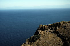 Santa Cruz Island Viewpoint. Hikers on viewpoint of Santa Cruz Island, Channel Islands, off the coast of California (USA Royalty Free Stock Image