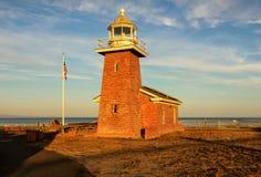 Santa Cruz lighthouse at sunset. Santa Cruz lighthouse museum a memorial to surfers, California stock images