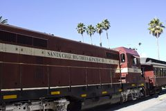 Santa Cruz red train with its coaches Royalty Free Stock Photography
