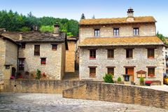 Santa Cruz Seros square Pyreness village stone Royalty Free Stock Images