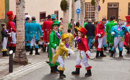 SANTA CRUZ, SPAIN - February 12: participants prepare and assemble for the carnival parade for one of the most important carnival. S in the world on February 12 royalty free stock images
