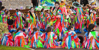 SANTA CRUZ, SPAIN - February 12: participants prepare and assemble for the carnival parade for one of the most important carnival. S in the world on February 12 royalty free stock image