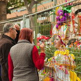 SANTA CRUZ, SPAIN - February 12: participants prepare and assemble for the carnival parade for one of the most important carnival. S in the world on February 12 royalty free stock photography