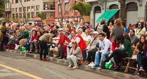 SANTA CRUZ, SPAIN - February 12: viewers awaiting  the carnival Royalty Free Stock Image