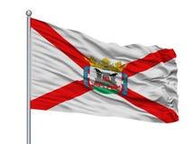 Santa Cruz Tenerife City City Flag no mastro de bandeira, Espanha, isolada no fundo branco Ilustração Stock