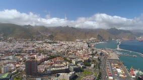 Santa Cruz, Tenerife, Spain - May, 18, 2018: Aerial view of a city centre. Drone shot in 4K stock video
