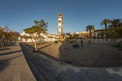 Santa Cruz, Tenerife, Spain - September 20, 2018: Spain square -Plaza de Espana- with big artificial fountain lake. Favorite royalty free stock photography