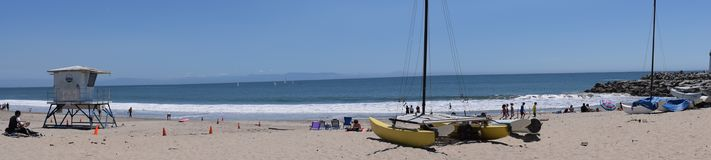 Santa Cruz Twin Lakes State Beach Panaroma stock foto's