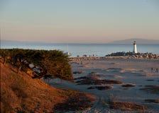 Santa Cruz Walton lighthouse at the marina entrance. Ocean, beach and Walton lighthouse at the marina entrance in Santa Cruz on a late afternoon Royalty Free Stock Photos