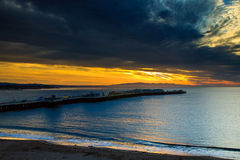 Santa Cruz wschód słońca przy rybaka nabrzeżem Fotografia Royalty Free