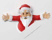 Santa cut out of paper. 3d image with work path Royalty Free Stock Images
