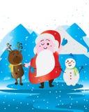 Santa cute snowman deer. Illustration cute Santa Claus snowman deer blue color white design graphic element. Merry Christmas Stock Images
