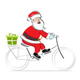Santa on cycle wishing merry christmas. Illustration of santa on cycle wishing merry christmas on white background Royalty Free Stock Image