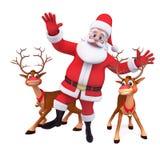 Santa dancing with reindeer Royalty Free Stock Photo