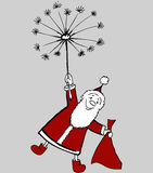 Santa on a dandelion Royalty Free Stock Image