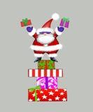 Santa dans des lunettes de soleil jetant des cadeaux en l'air Images libres de droits